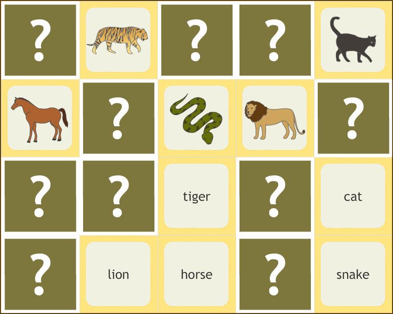 İngilizce Hayvanlar Hafıza Oyunu