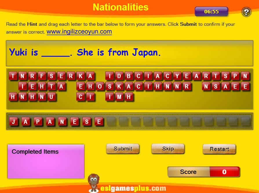 İngilizce Ülkeler Milletler Oyunu
